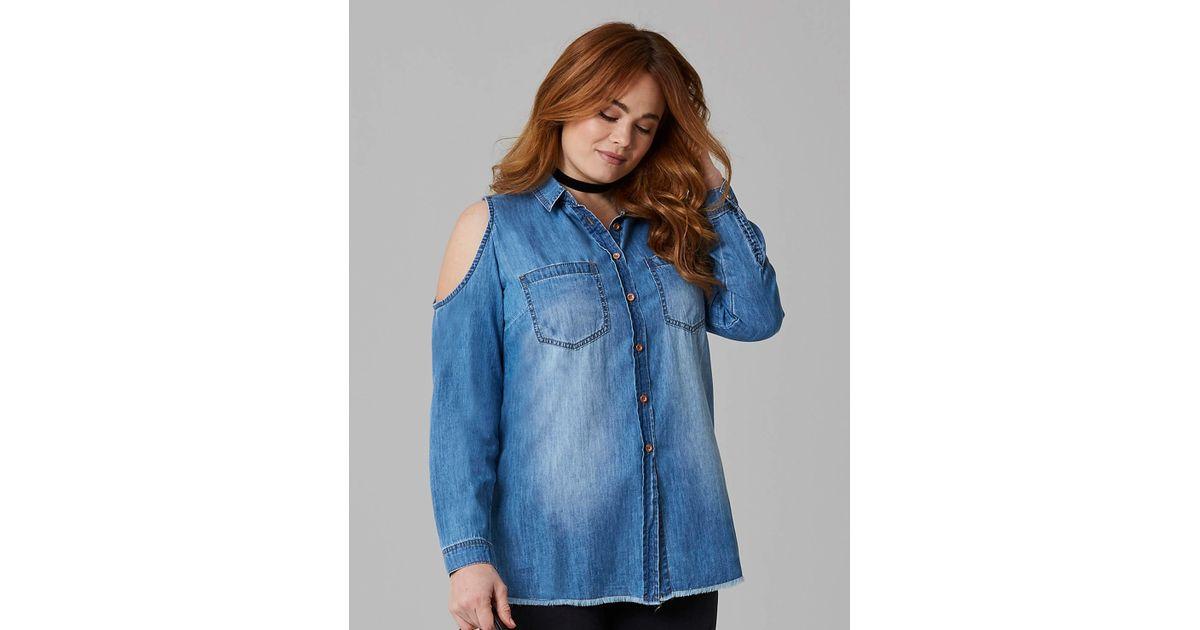 6ec1f0c3475 Simply Be Mid Blue Cold Shoulder Denim Shirt in Blue - Lyst