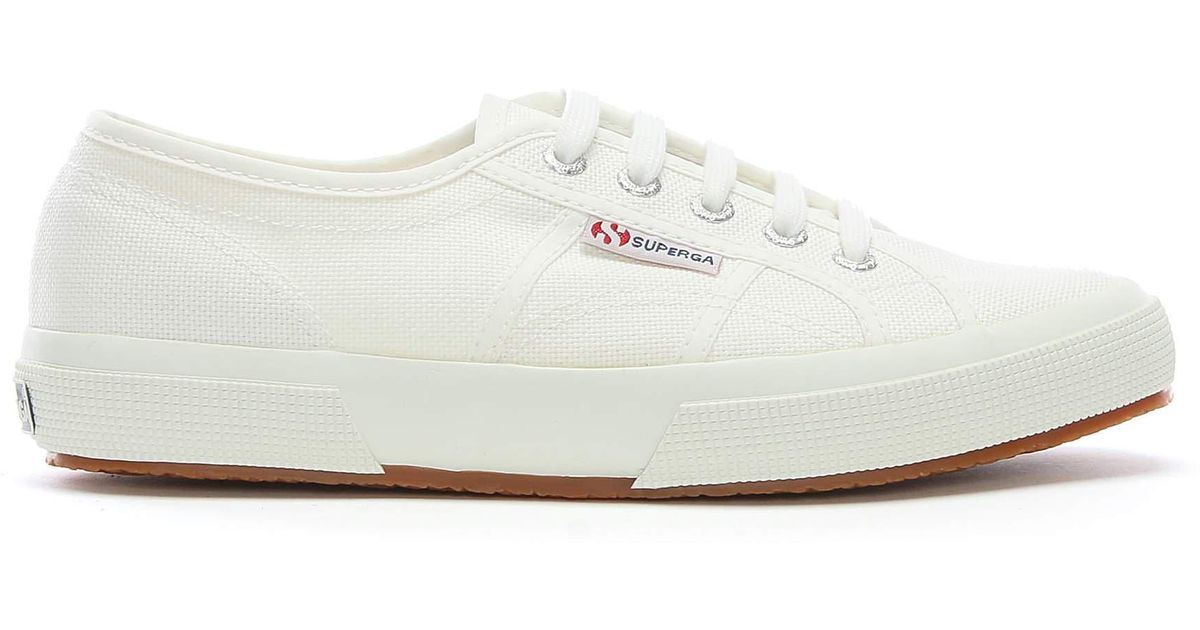 d613e481843 Superga Cotu Lace Up Canvas Trainers in White - Lyst