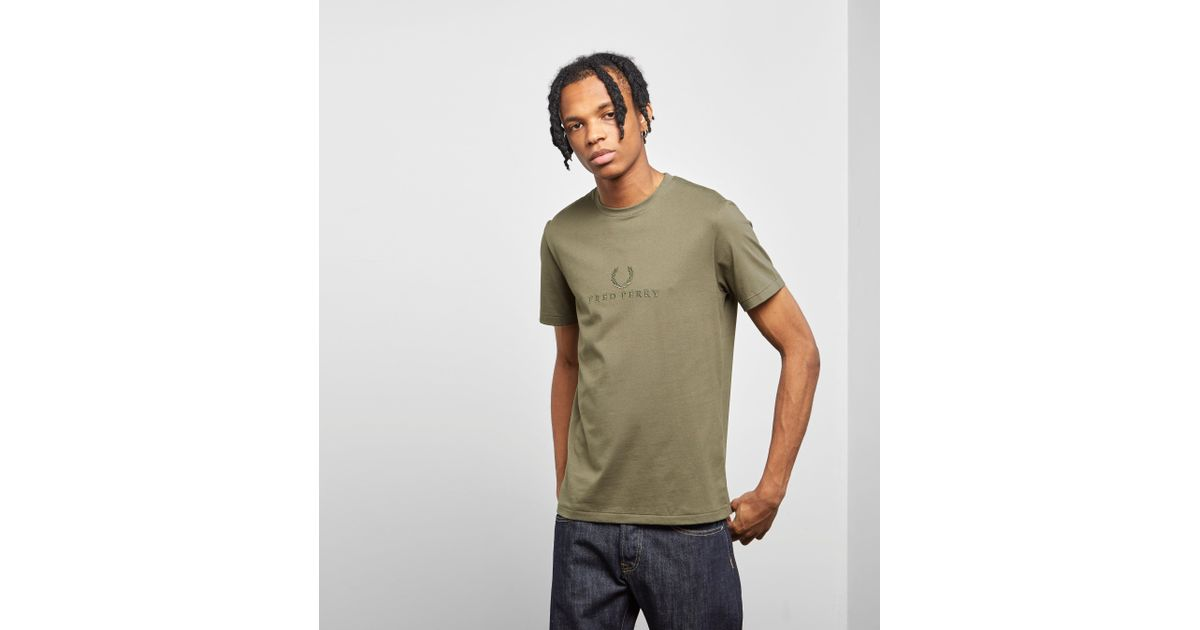 56739109f009 Lyst - Fred Perry Tonal Embroidered T-shirt in Green for Men