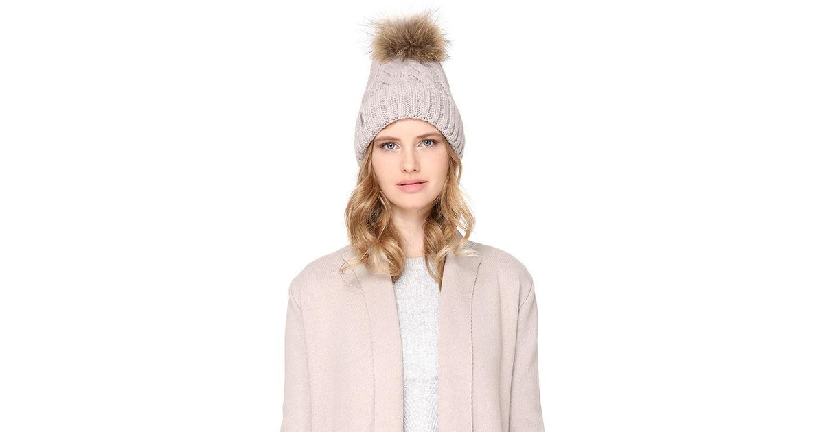 77c1853f0b1 Lyst - SOIA   KYO Amalie Cable Knit Hat With Removable Pom Pom