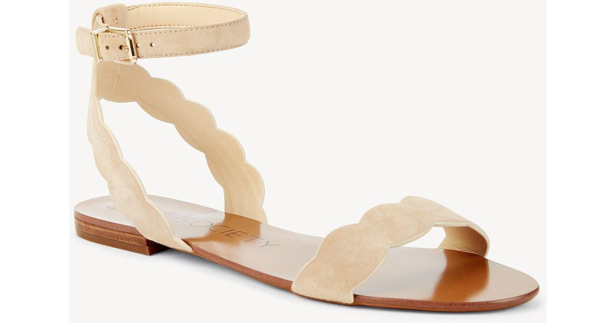 6f198cae438 Lyst - Sole Society Odette Scalloped Flat Sandal in Natural