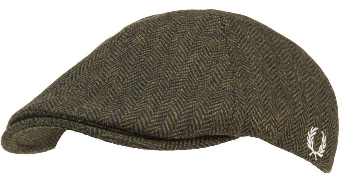 Fred Perry Herringbone Hat in Green for Men - Lyst e3fe4dfc0516