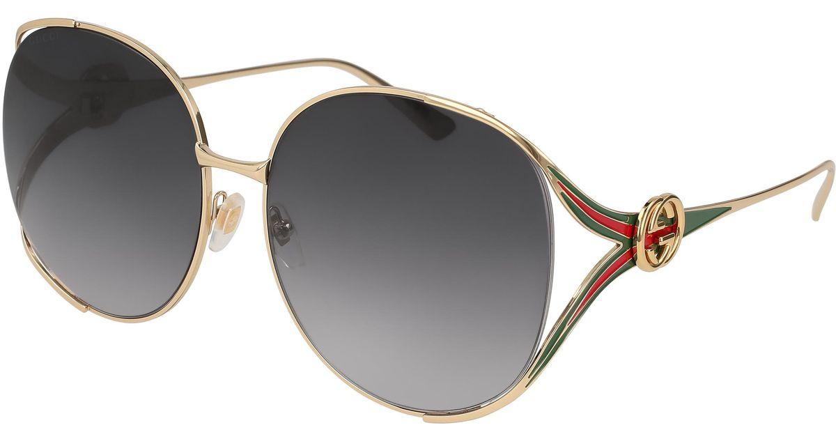 c71b101a02c Lyst - Gucci 0225 Oval Sunglasses in Gray