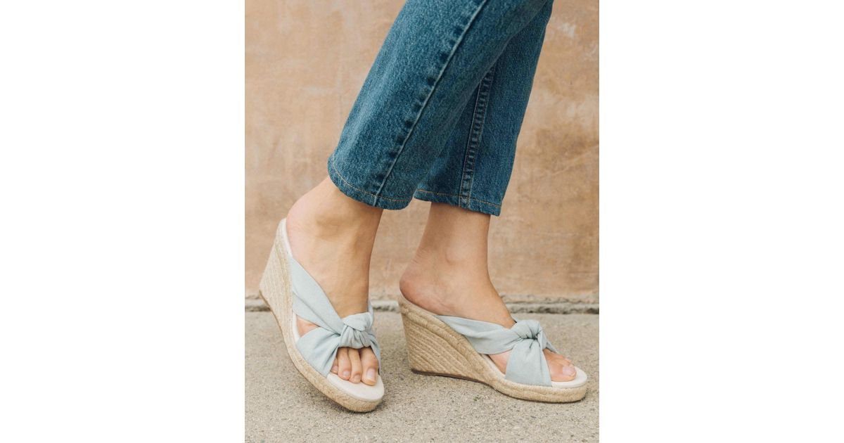 bbbcdcc832c Lyst - Soludos Knotted Wedge in Blue
