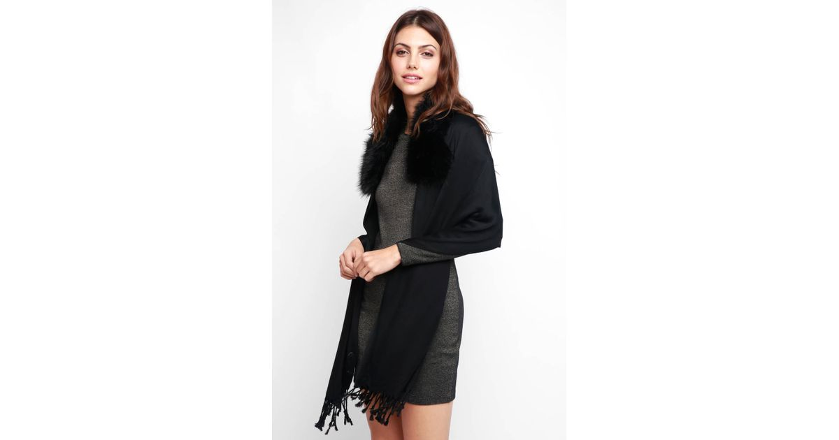 a1aa804c105 Lyst - South Moon Under Faux Fur Trim Kimono in Black
