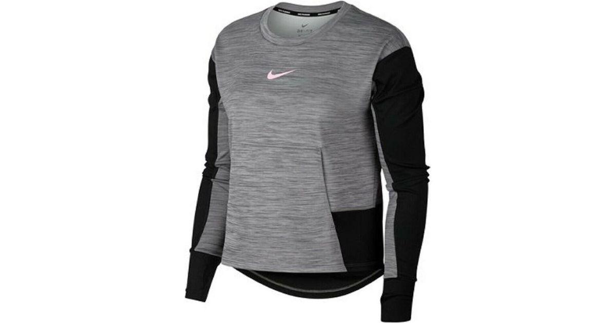 new styles c423a 67edf Nike - Gray Pacer Crew - Funktions Sweatshirt Damen - Grau / Schwarz  Women's In Grey for Men - Lyst