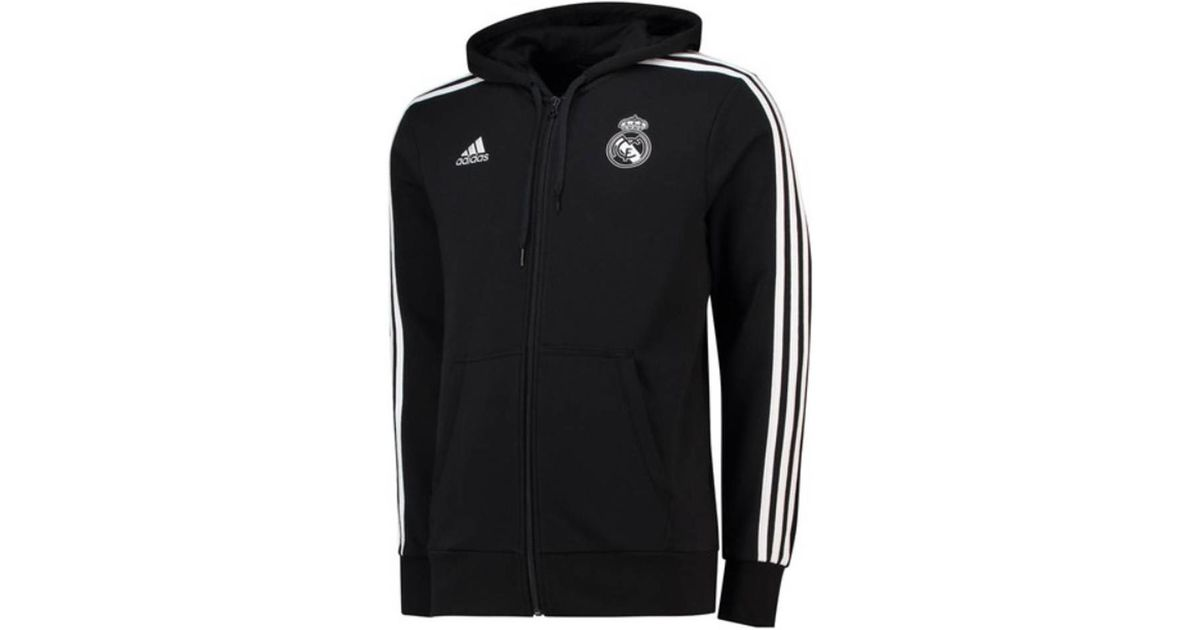 699375e03 adidas 2018-2019 Real Madrid 3s Hooded Zip Men s Tracksuit Jacket In Black  in Black for Men - Lyst