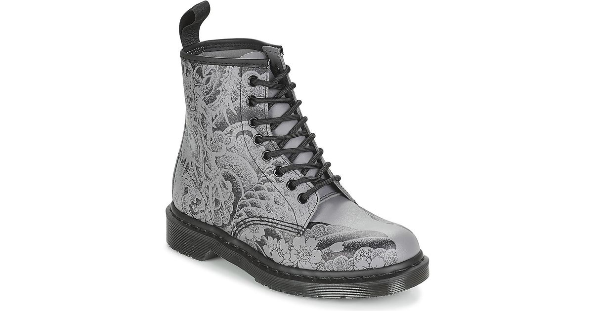 Dr Martens Gray 1460 Tattoo Ot Asia Mens Mid Boots In Grey For Men