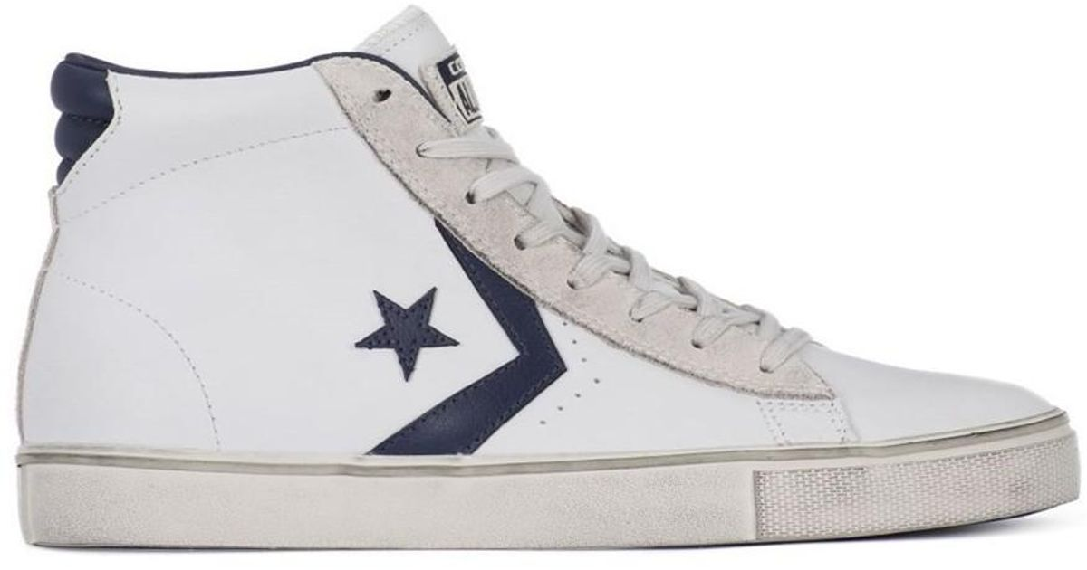 64a361039c06 Converse Pro Leather Vulc Mid Men s Shoes (high-top Trainers) In White in  White for Men - Lyst