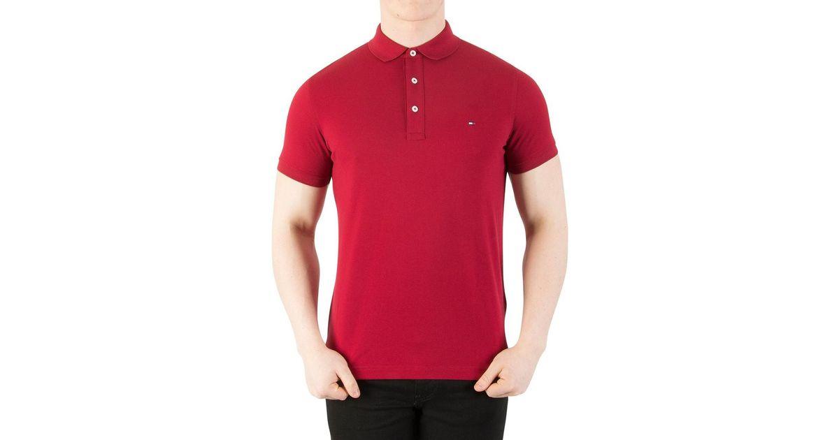 b5e79d470 Tommy Hilfiger Men's Slim Fit Polo Shirt, Red Men's Polo Shirt In Red in Red  for Men - Lyst