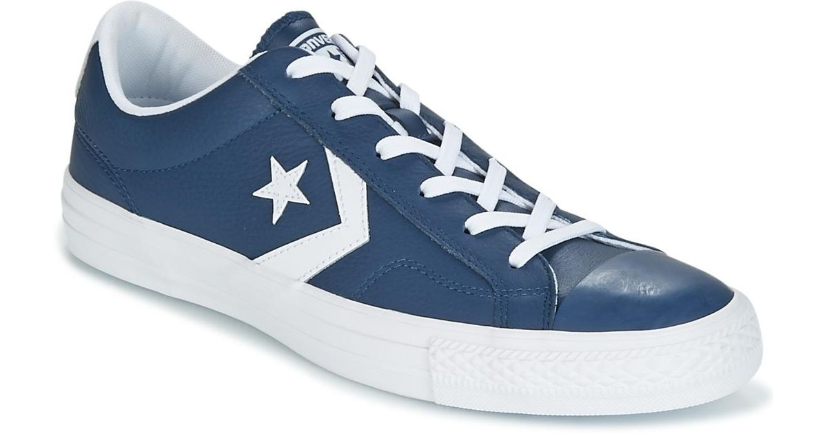 Converse Star Player Ox Leather Essentials Men s Shoes (trainers) In Blue  in Blue for Men - Save 18% - Lyst 141461b0b