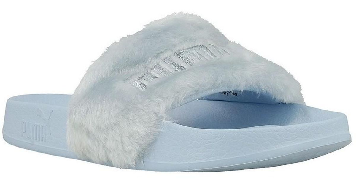 check out 4731d 1e71a PUMA - Fur Slide Wns Cool Blue Women's Slippers In Blue - Lyst