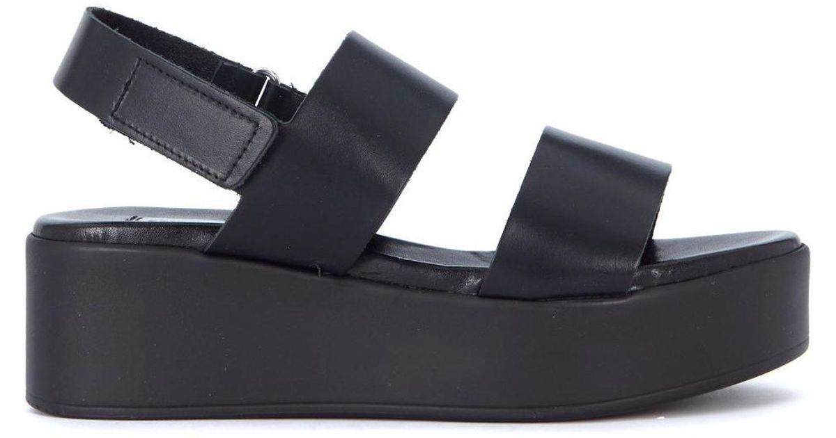 99bae5dfc4 Steve Madden Sandalo Con Zeppa Rachel In Pelle Nera Women's Sandals In Black  in Black - Lyst