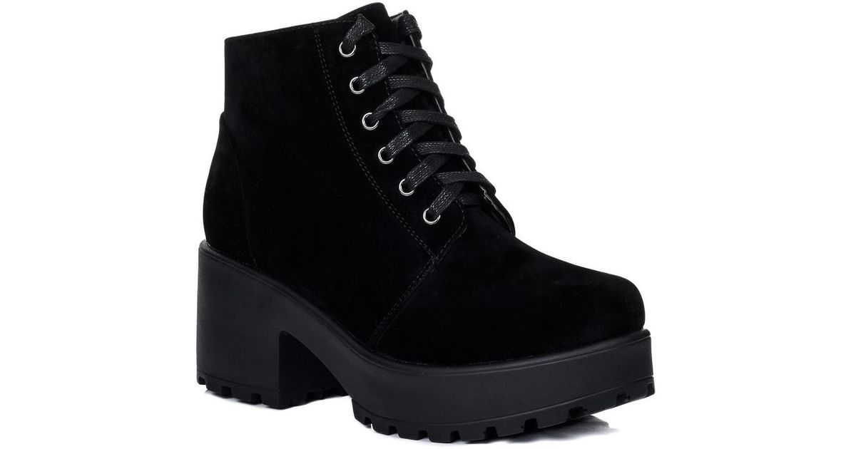 ac175d26161c Spylovebuy Hothead Lace Up Cleated Sole Platform Block Heel Ankle Boots Sh  Women s Low Ankle Boots In Black in Black - Lyst