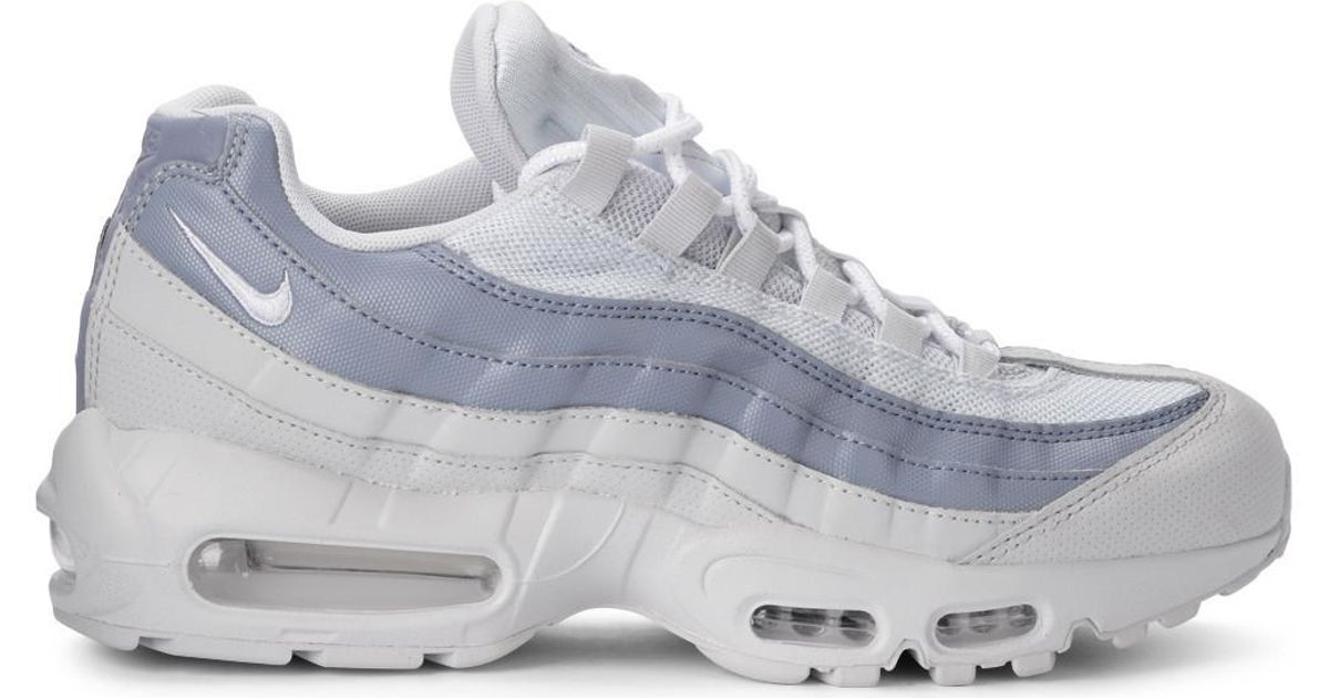 size 40 21ed6 51dca Nike Air Max 95 White And Light-blue Leather Fabric Sneaker Men s Shoes  (trainers) In White in White - Lyst