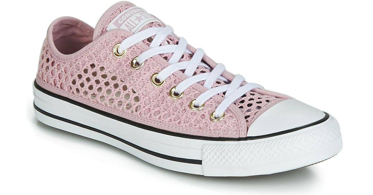 b8a18485bbe84d Converse Chuck Taylor All Star Handmade Crochet Ox Women s Shoes (trainers)  In Pink in Pink - Lyst