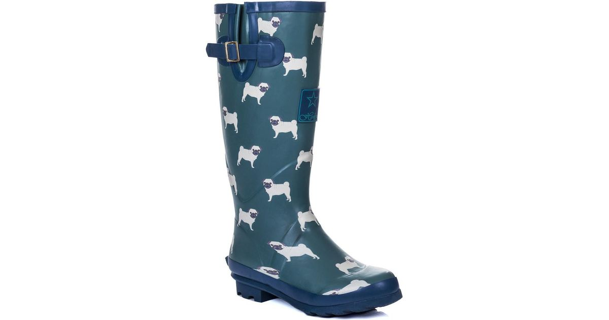 Lyst  Spylovebuy Igloo Knee High Flat Festival Wellies Rain Boots  Blue  Pug Womens Wellington Boots In Blue in Blue