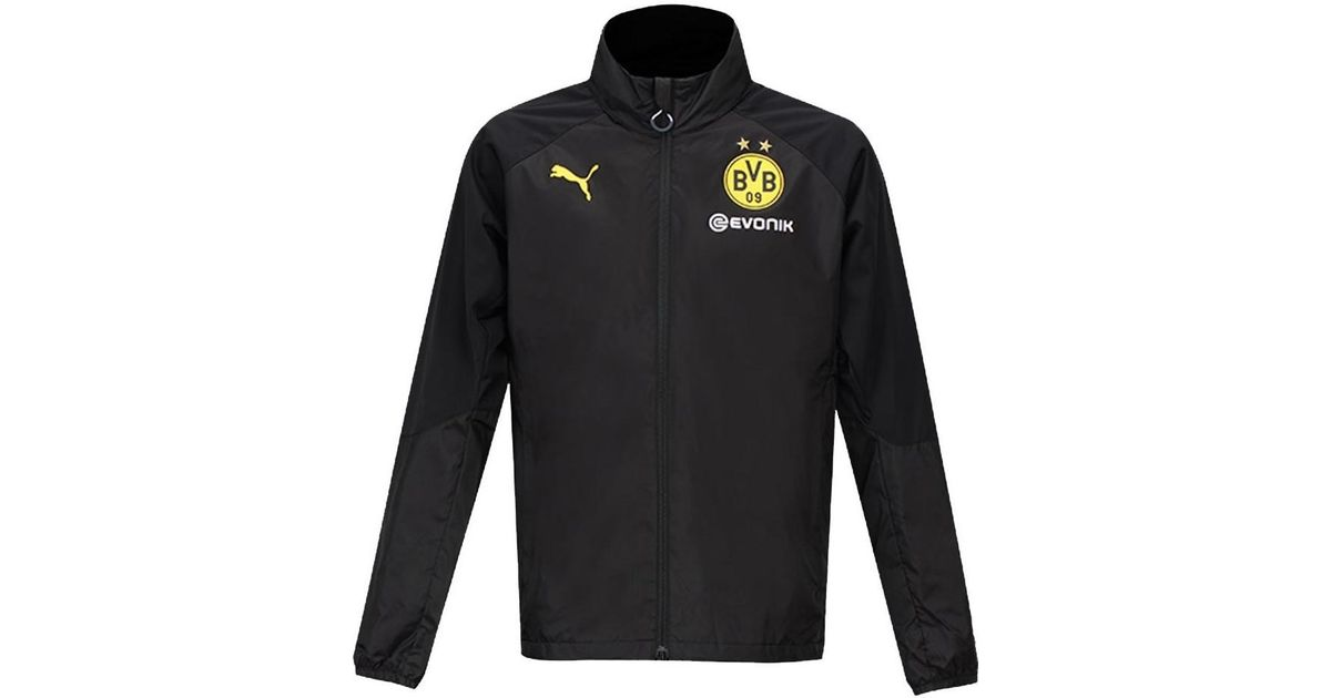 94ae7c5c3 PUMA 2017-2018 Borussia Dortmund Bench Jacket Men's Sweatshirt In Black in  Black for Men - Lyst