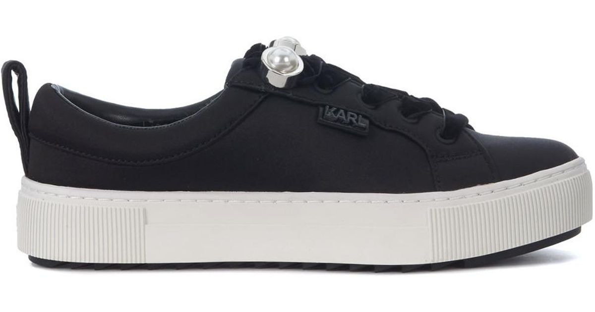 81e1f56147f71 Karl Lagerfeld Black Satin Sneaker With Pearls Women s Shoes (trainers) In  Black in Black - Lyst