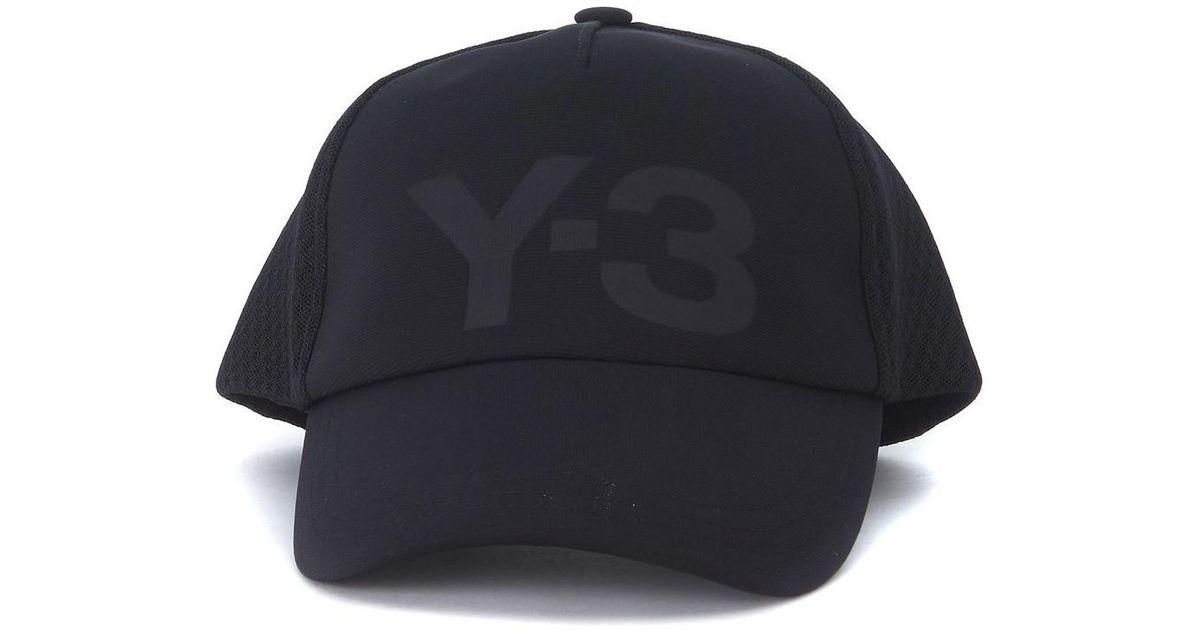 43064bf3e2f0d Y-3 Cappellino Trucker In Twill E Mesh Men s Cap In Black in Black for Men  - Lyst
