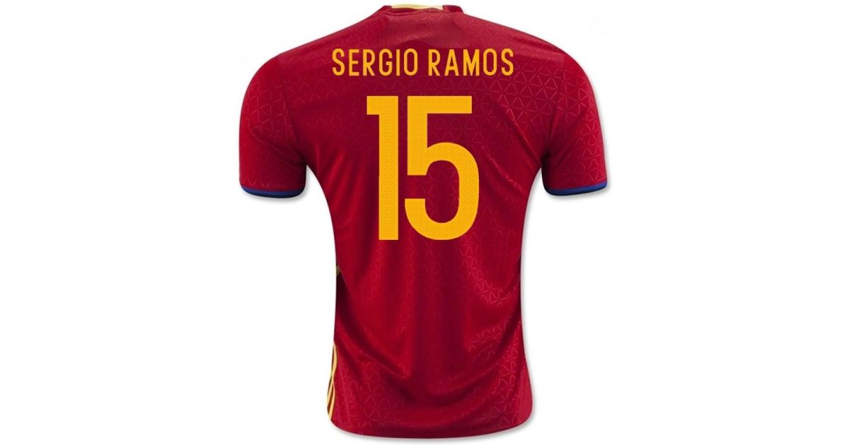 the latest 817bd 9842b Adidas - 2016-2017 Spain Home Shirt (sergio Ramos 15) - Kids Women's T  Shirt In Red - Lyst