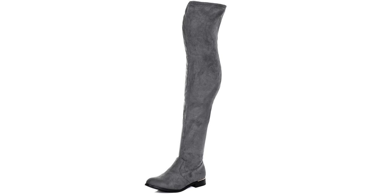 8e965fb758 Spylovebuy Bardot Flat Thigh Boots - Grey Suede Style Women's Mid Boots In  Grey in Gray - Lyst