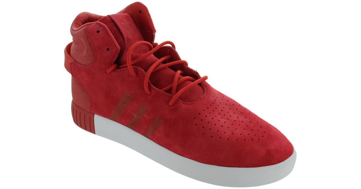 23cd9874f363 ... hot adidas tubular invader mens shoes high top trainers in red in red  for men lyst