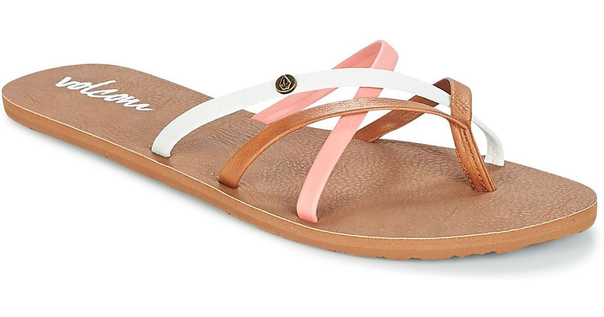 1fd21705f6ba8a Volcom New School Women s Flip Flops   Sandals (shoes) In Brown in Brown -  Lyst