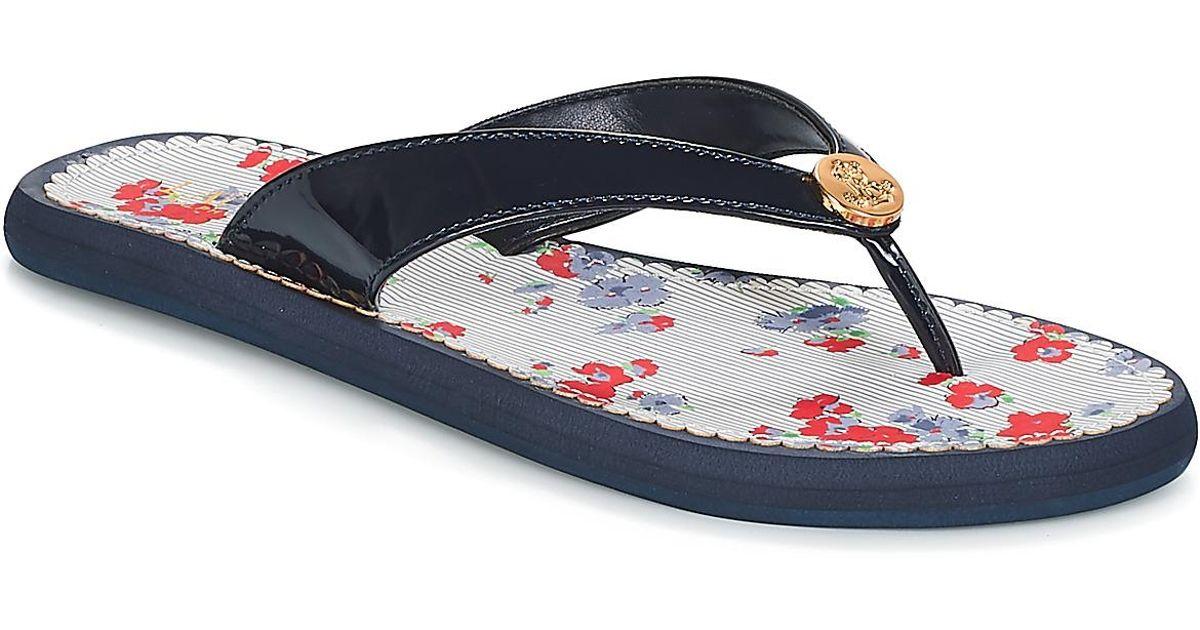 7339b9af8d04 Lauren by Ralph Lauren Raia Women s Flip Flops   Sandals (shoes) In Blue in  Blue - Lyst