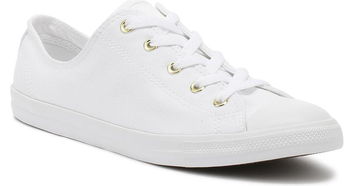 cc1484771f415 Converse Chuck Taylor All Star Womens White   Gold Dainty Ox Trainers  Women s Shoes (trainers) In White in White - Lyst