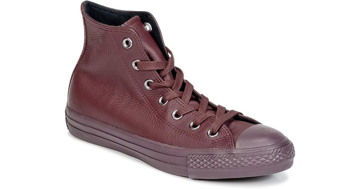 16b04341aa14aa Converse Chuck Taylor All Star Mono Cuir Women s Shoes (high-top Trainers)  In Red in Red - Lyst