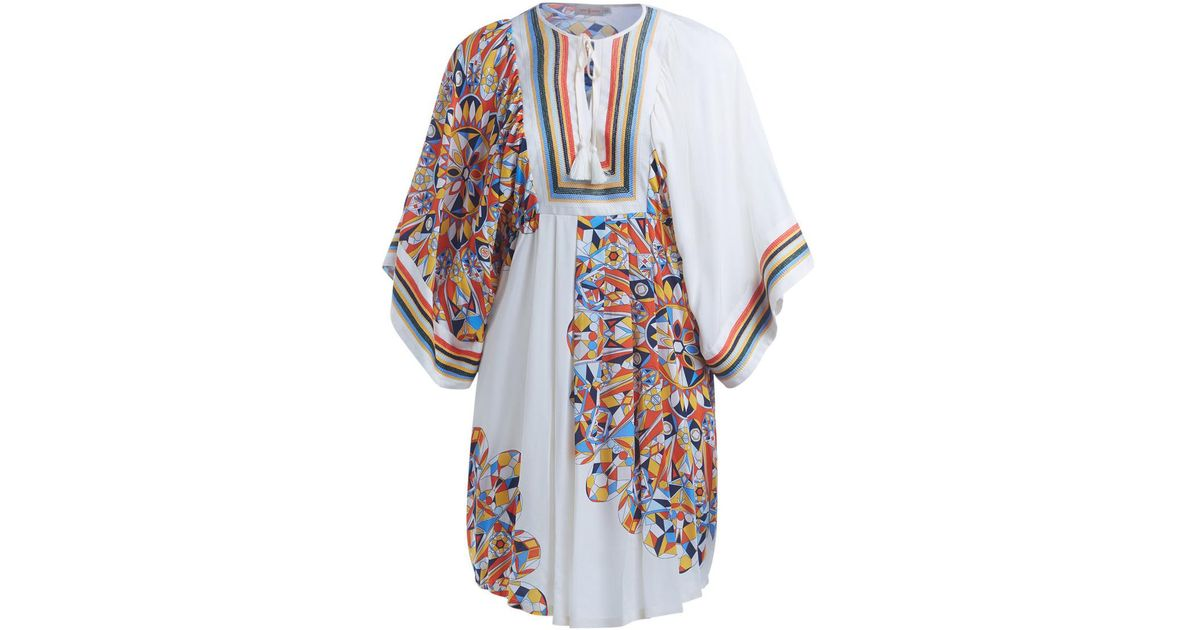 71cd148fac62 Tory Burch Tory Birch Kaleidoscope White Tunic With Multicolor Graphics  Women s In Multicolour - Lyst