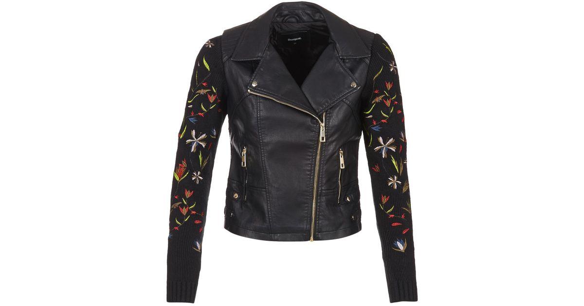 Black Jacket Women's Popurtq In Germeo Leather Lyst Desigual dT8Swd