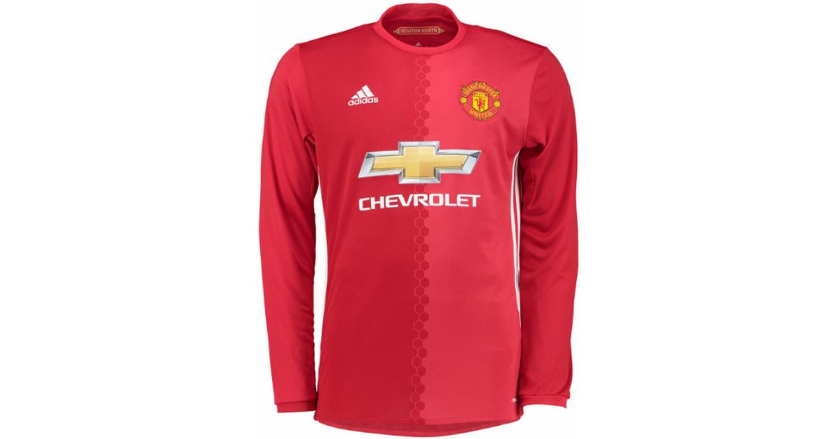 pretty nice fadc3 7a4a1 Adidas - 2016-17 Man United Home Long Sleeve Shirt (pogba 6) Men's In Red  for Men - Lyst