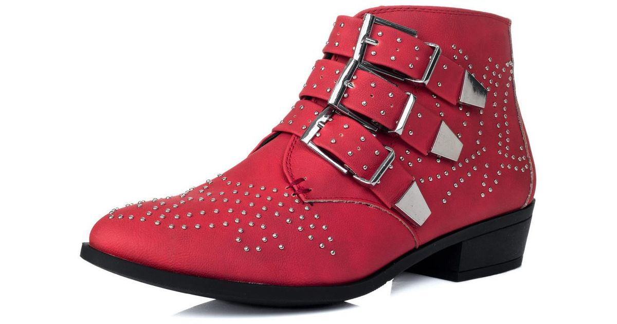 SPYLOVEBUY Samara Cowboy Western Block Heel Ankle Boots Shoes Red Nubuck Women's Low Ankle Boots In Red Lyst