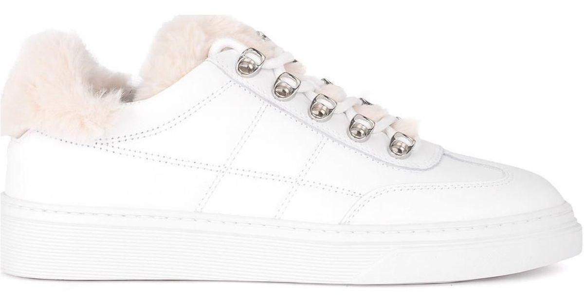 H340 Blanc Basket En Femmes Chaussures Modèle Cuir Avec Mouton EbWD29IeHY