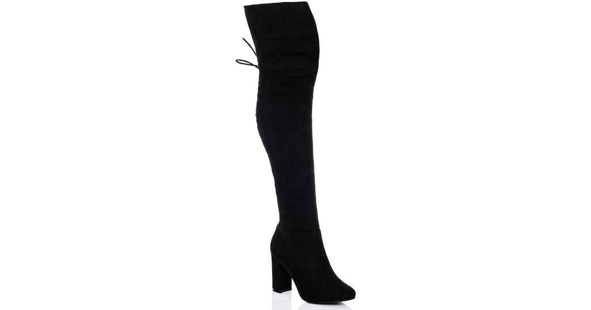 23403cee1b Spylovebuy Maiden Lace Up Block Heel Over Knee Tall Boots - Black Suede St  Women's High Boots In Black in Black - Lyst