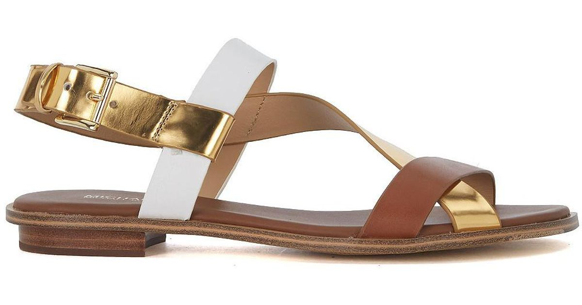 f570a47cf9 MICHAEL Michael Kors Mackay Gold White And Brown Leather Sandal Women's  Sandals In Gold in Metallic - Lyst