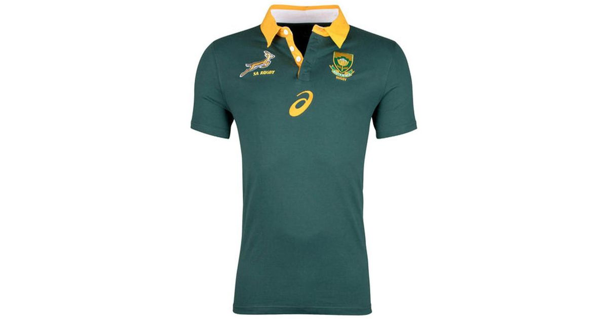 15fff865 Asics 2017-2018 South Africa Springboks Home Cotton Rugby Shirt Women's Polo  Shirt In Green in Green - Lyst