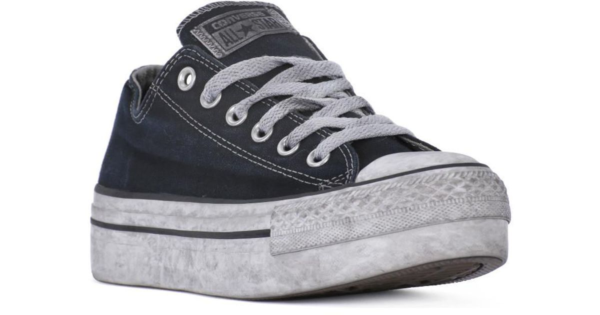 8b08df24f88e Converse All Star Platform Ox Black Smoke Women s Shoes (trainers) In Black  in Black - Lyst