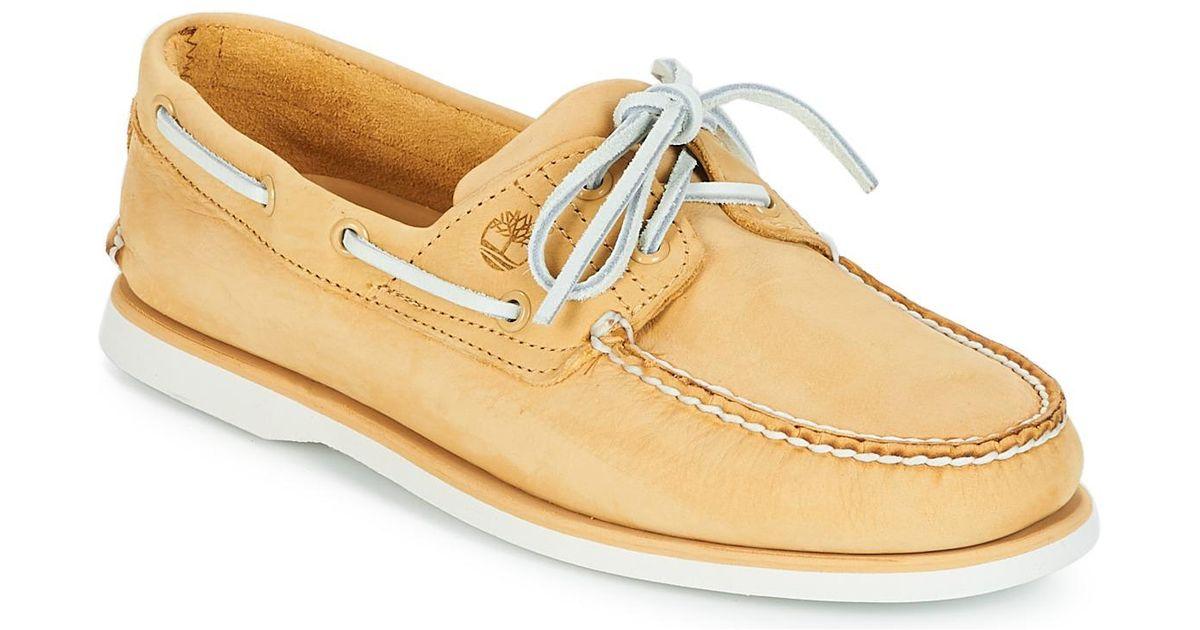 magasins populaires le plus populaire Quantité limitée Timberland Yellow Classic Boat 2 Eye Boat Shoes for men