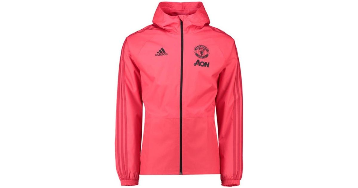 9cb253e0ccd85 adidas 2018-2019 Man Utd Training Rain Jacket Men's Tracksuit Jacket In  Pink in Pink for Men - Lyst