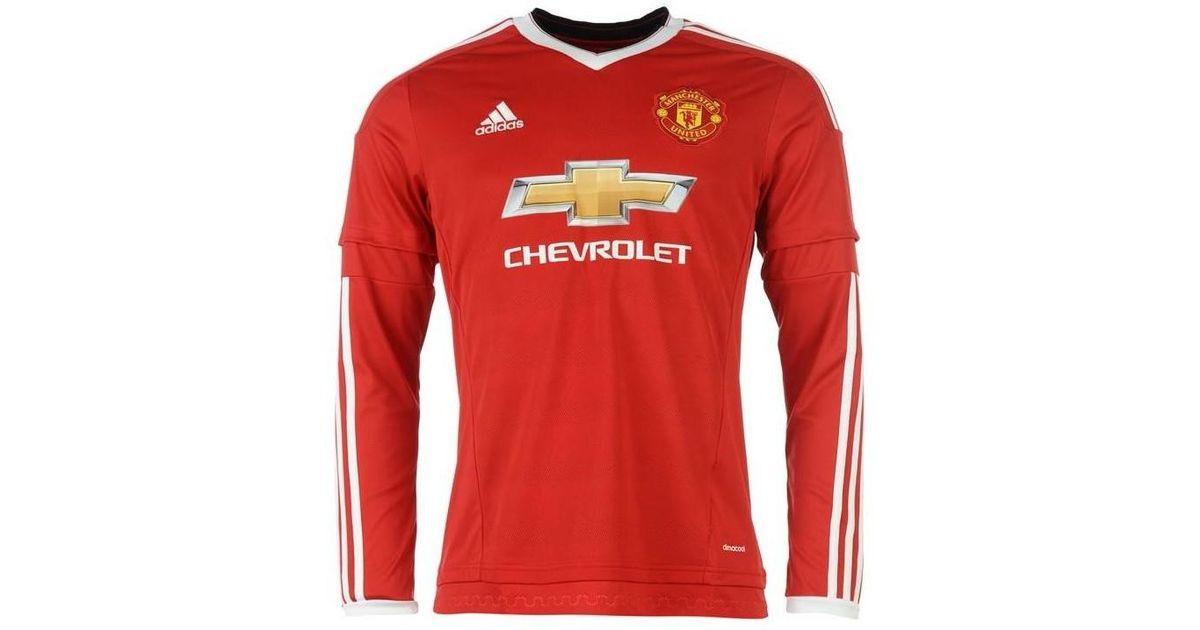 get cheap 11f8b 1c544 Adidas - 2015-2016 Man Utd Long Sleeve Home Shirt (fellaini 27) Women's In  Red - Lyst