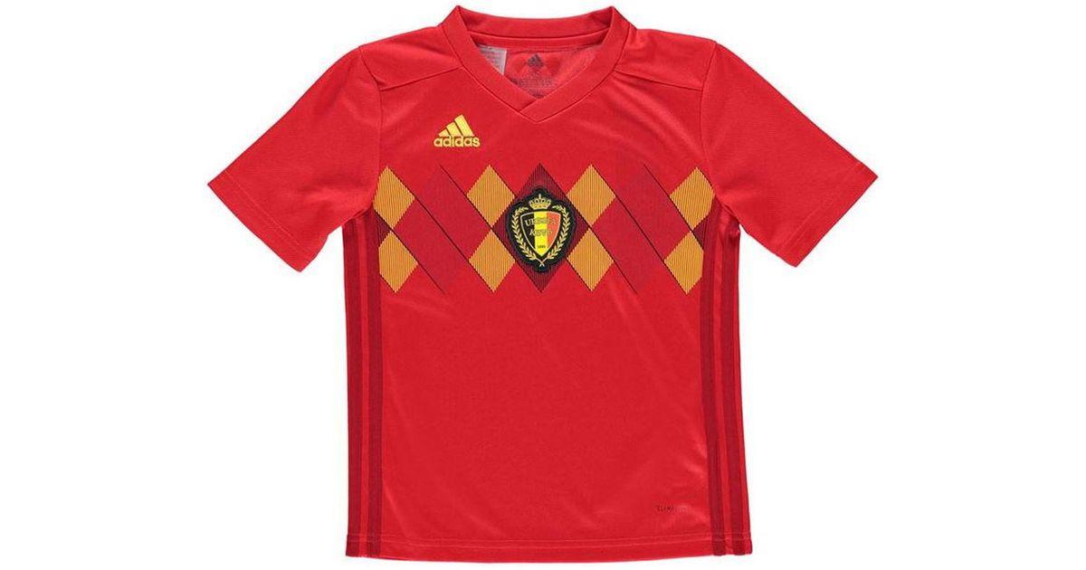 newest aaf12 1e222 Adidas - 2018-2019 Belgium Home Shirt (lukaku 9) - Kids Men's T Shirt In  Red for Men - Lyst