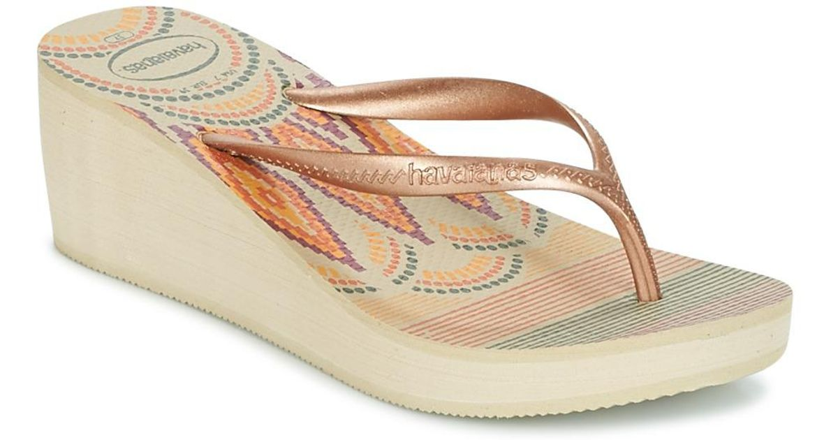 82a581f4dc4c12 Havaianas High Fashion Print Women s Flip Flops   Sandals (shoes) In Beige  in Natural - Lyst
