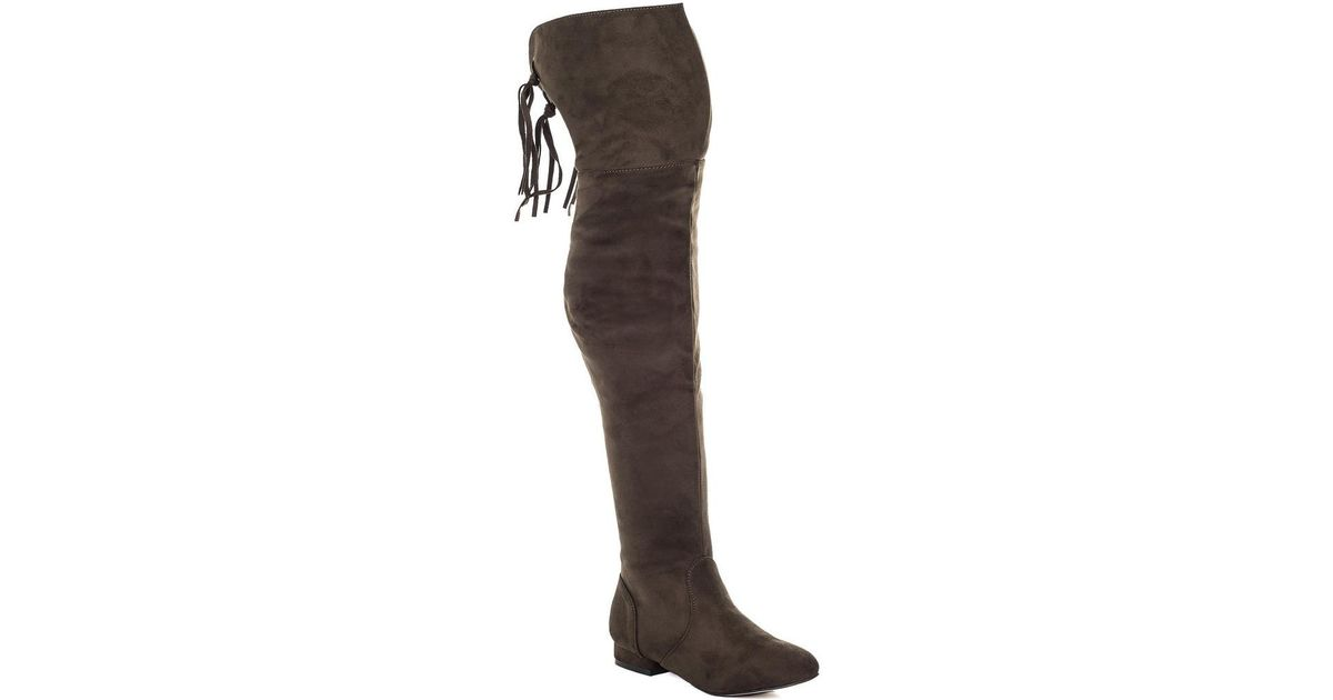 Brown Tall Flat Suede Knee Aviana Style Boots Zip Spylovebuy Over X0wSqwC