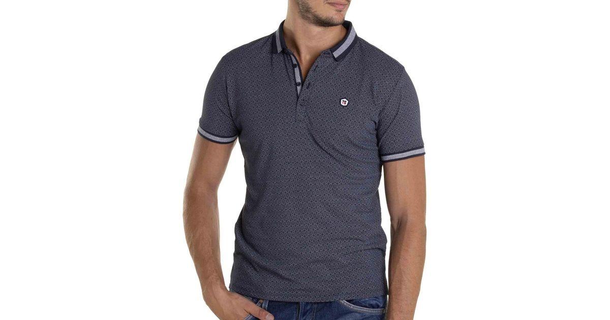 d99dfb0a394 Lyst - Polo manches courtes homme PEPPER à motifs tendance hommes Polo en  bleu Teddy Smith pour homme en coloris Bleu