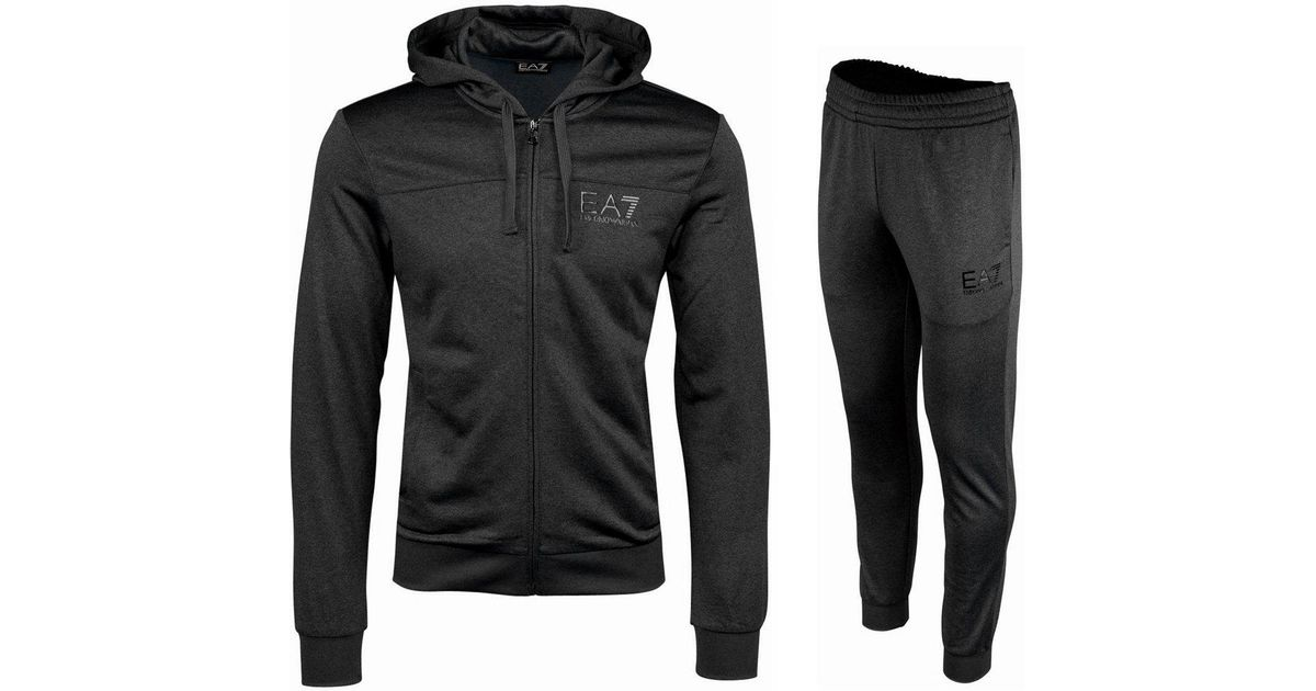 f8abe60f12329 Emporio Armani 6 Z Hooded Tracksuit Carbon Melange in Black for Men - Lyst
