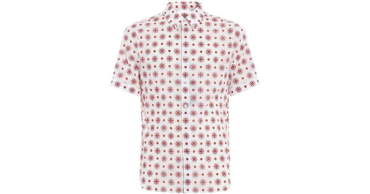 7652a6563 Lyst - Alexander McQueen Brad Pitt Skull Bandana Shirt in Red for Men