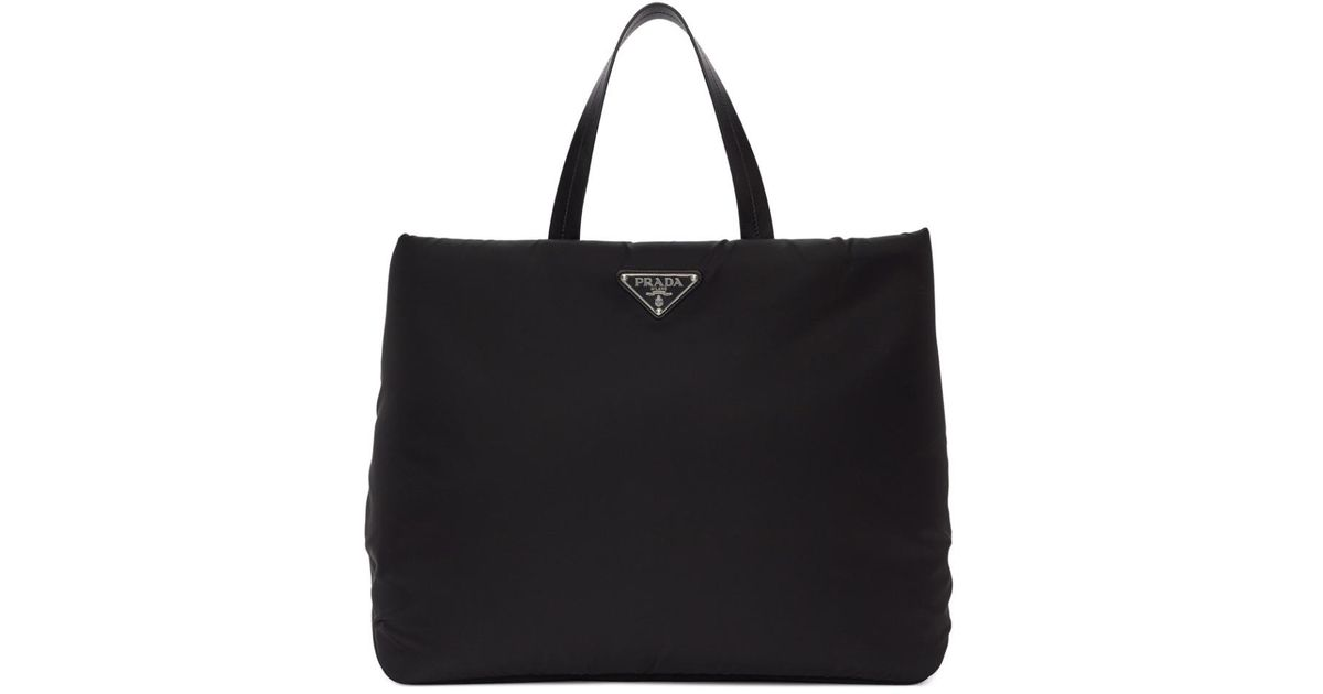 5217e0ee0988 Prada Black Medium Nylon Tote in Black - Lyst